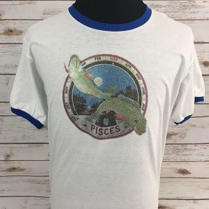 Vintage Pisces Glitter Iron-On On New T-Shirt NWT